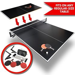 Conversion Ping Pong Table Tennis Top for Pool Table | Full Size Outdoor Foldable Portable Black ...
