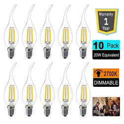 LED Candelabra Light Bulbs 2W C35 Candle Bulb E12 Candelabra Base Chandelier Light Bulbs 20W Equ ...