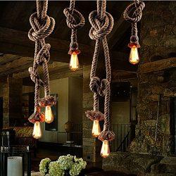 Hemp Rope Light,youkexin Hemp Rope Industrial Hanging Light Vintage Retro Ceiling Light E27 1.8c ...