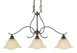 Feiss F2048/3GBZ Morningside Glass Pool Table Lighting, 3-Light, 300watts, Bronze (5″W by  ...