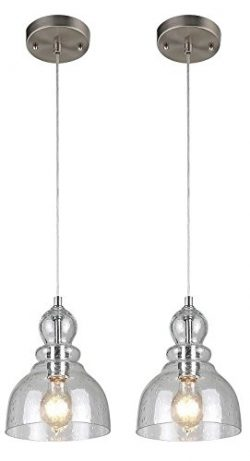 Ciata Lighting One-Light Adjustable Mini Pendant with Handblown Clear Seeded Glass, Brushed Nick ...