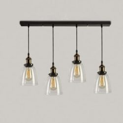 Industrial Retro Country Style Clear Glass Island Chandelier – LITFAD Clear Bowl Glass Sha ...