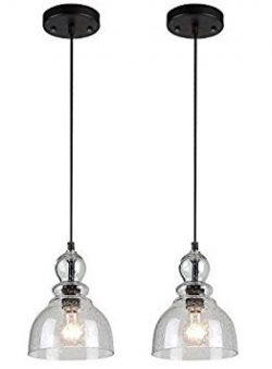 Westinghouse Industrial One-Light Adjustable Mini Pendant with Handblown Clear Seeded Glass, Oil ...