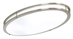 LB72133 LED Flush Mount Ceiling Lighting Oval, Antique Brushed Nickel, 32-Inch 4000K Cool White, ...