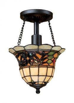 Elk 70021-1 Tiffany Buckingham 1-Light Semi-Flush Mount, 11-Inch, Vintage Antique