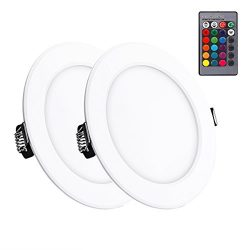 Lemonbest 2pcs Color Changing LED Ceiling Light Panel Lamps Remote Control 10W Recessed LED Down ...