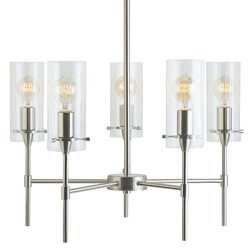 Effimero 5 Light Pendant Chandelier – Brushed Nickel w/ Clear Cylinders – Linea di L ...
