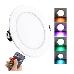Lemonbest Color Changing LED Ceiling Light Panel Lamp Remote Control 10W Recessed LED Down Light ...