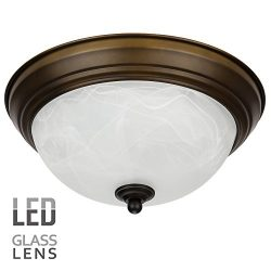 LEONLITE Dimmable 11-Inch LED Flush Mount Ceiling Light Fixture, Alabaster Glass Shade, 15W (80W ...