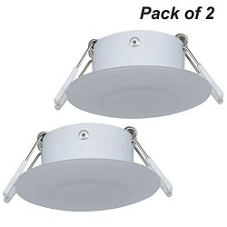 Facon 3 Inch LED RV Puck Light Full Aluminum Recessed Mount Down Light 12V 3W 210Lumens(Pack of 2)