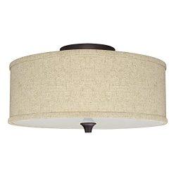 Revel/Kira Home Newport 14″ 2-Light Semi-Flush Mount Ceiling Light + Beige Linen Drum Shad ...