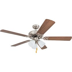 Portage Bay 50256 Stannor 52″ Brushed Nickel Ceiling Fan with 3 Arm Light