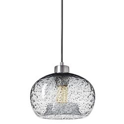 Casamotion Pendant Lighting Handblown Glass Drop ceiling lights, Rustic Hanging Light Clear Seed ...
