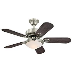 Westinghouse 7203200 Cassidy Two-Light 36″ Reversible Five-Blade Indoor Ceiling Fan, Brush ...
