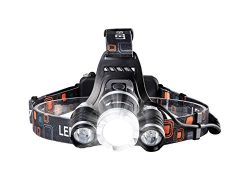 icefox Rechargeable Headlamp, Super Bright LED Head Torch, 6000 Lumens Waterproof Headlight with ...