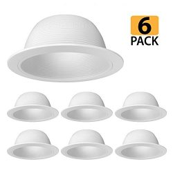 [6-Pack] PROCURU 6″ White Baffle Metal Recessed Can Light Trim – for BR30/38/40, PAR ...