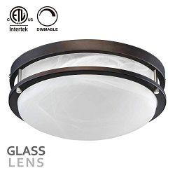 TORCHSTAR 12.5 Inch Dimmable LED Flush Mount Ceiling Light, Alabaster Glass Cover, ETL-Listed, 1 ...