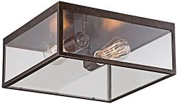 Montesidro 12″W Bronze and Glass Outdoor Ceiling Light