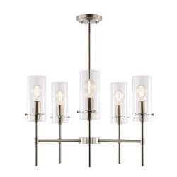 Light Society Montreal Cylindrical 5-Light Chandelier Pendant, Satin Nickel with Clear Glass Sha ...