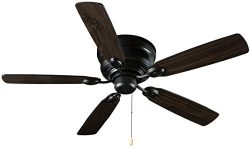 Hyperikon Indoor Ceiling Fan with Pull Chain, 42-Inch Black Ceiling Fan Fixture with Five Revers ...
