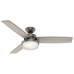 Hunter 59211 52″ Sentinel Ceiling Fan with Light & Remote, Brushed Slate