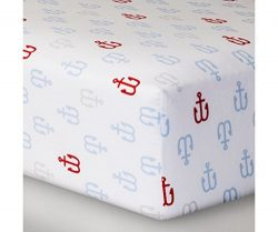 Fitted Crib Sheet Anchors – Cloud Island – Light Blue Anchors