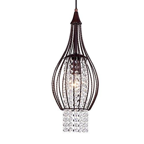 Crystal Chandelier Pendant Lighting 1 Light Rustic Bronze