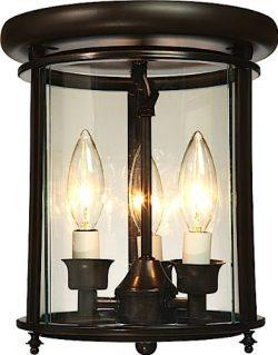 Artcraft Lighting Manor 3-Light Flush Mount Urn Light, Rich Bronze