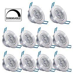 10 Pack,Pocketman 110V 3W Dimmable LED Ceiling Light Downlight,Warm White Spotlight Lamp Recesse ...