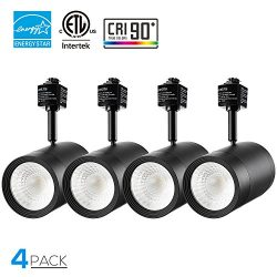 4 Pack 17.5W (85W Equiv.) Integrated CRI90+ LED Black Track Light Head, Dimmable 38°Beam Track L ...