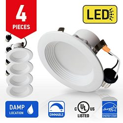 OSTWIN 4-inch LED Downlight Round RETROFIT KIT Recessed Ceiling Lighting Fixture, Baffle Trim, 1 ...