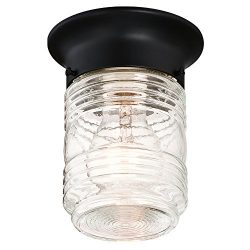 Design House 587220 Jelly Jar 1-Light Indoor/Outdoor Flush Mount Ceiling Light, Black