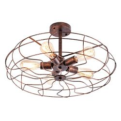 OYI Vintage Industrial Retro Ceiling Chandelier Light, 5 Lights Close to Ceiling Semi Flush Moun ...