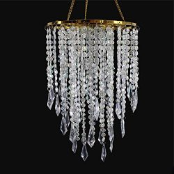SUNLI HOUSE Wedding Chandelier Centerpieces Acrylic Beaded Iridescent with Gold Frame -Drop 12.9 ...
