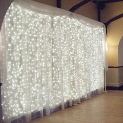 Dacawin 300 Led Curtain Lights Party Wedding Fairy Indoor Outdoor Christmas Garden (White)