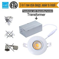 TSCDY 8W Directional Adjustable Downlight Led IC Rated 3-Inch 2700K Dimmable Recessed Lighting w ...