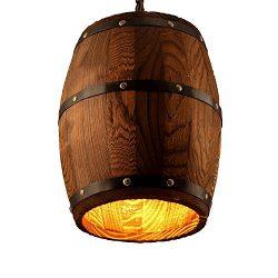 Newrays Antique Style Wood Wine Barrel Shade Hanging Fixture Kitchen Island Pendant Lights(Woode ...