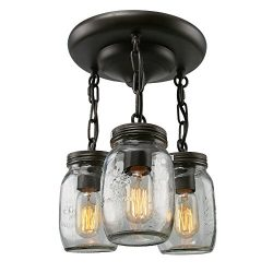 LNC Glass Pendant Lighting 3-light Mason Jar Ceiling Lights Semi Flush Mount Ceiling Light