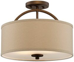 Possini Euro Halsted 15″ Wide Brushed Bronze Ceiling Light