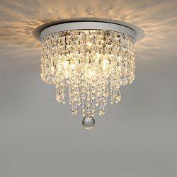 Hsyile KU300142 Modern Chandelier Crystal Ball Fixture Pendant Ceiling Lamp H9.84″ X W9.84 ...