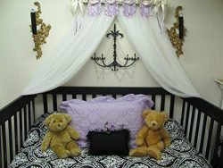 Shabby Chic Princess Bed Crown Canopy Crib POLE Flag Pendents Baby Nursery Decor Princess Girl&# ...