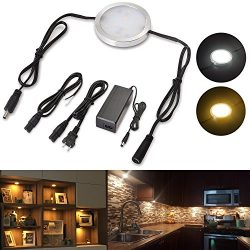 Lvyinyin Under Cabinet Lighting Linkable LED Puck Wall Lights Dimmable Hardwired & Wall Plug ...
