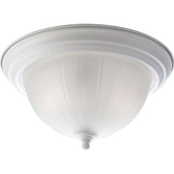 Progress Lighting P3817-30 2-Light Close-To-Ceiling with Etched Ribbed Glass In White Finish, White