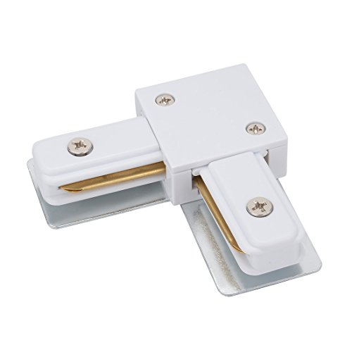 uxcell Track Lighting Corner L Connector for 2-Wire Lighting Track Rail, White