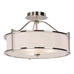 Semi Flush Mount Ceiling Light 18 inch 3 Light Close to Ceiling Light with Fabric Shade and Glas ...