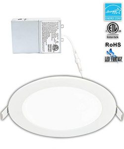 LED Fantasy 6-inch 15W 120V Recessed Ultra Thin Ceiling LED Light Retrofit Downlight Wafer Panel ...