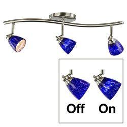 Direct-Lighting 3 Lights Adjustable Track Lighting Kit – Brushed Steel Finish – Blue ...