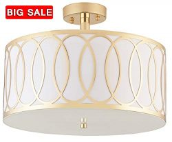 "Delica Home 15.75"" 2 Light Semi Flush Mount Ceiling Light, Off Gold and White Shade With F ..."