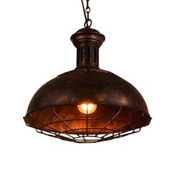Vintage Industrial Nautical Barn Cage Pendant Light, MKLOT 12.99″ Wide Pendant Lamp with R ...