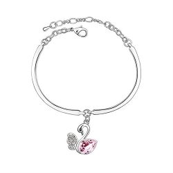 Dalino Fashion and Personality Fashion Women's Jewelry Crystal Bracelet with Swan Pendent( ...
